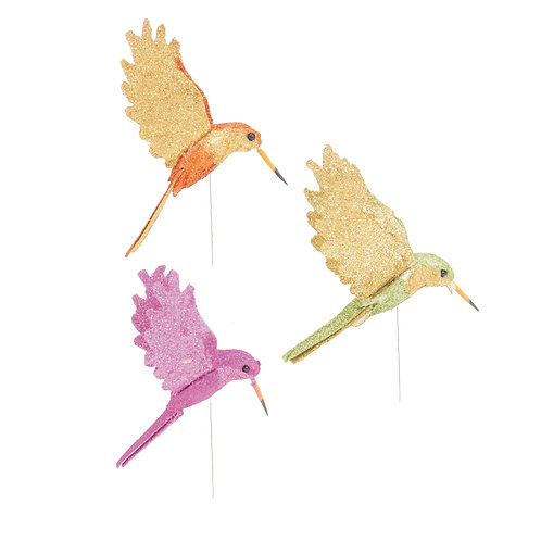 Pássaros Beija-Flor Glitter Cores Mistas
