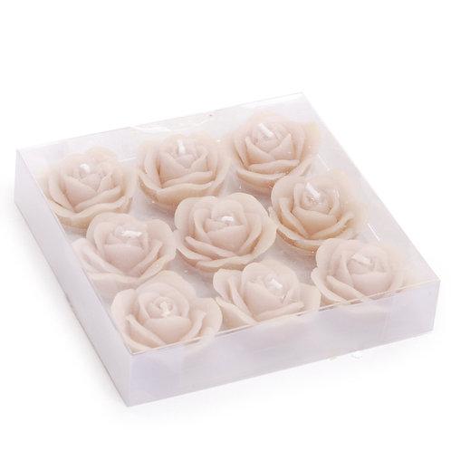 Vela Decorativa Rosas Areia