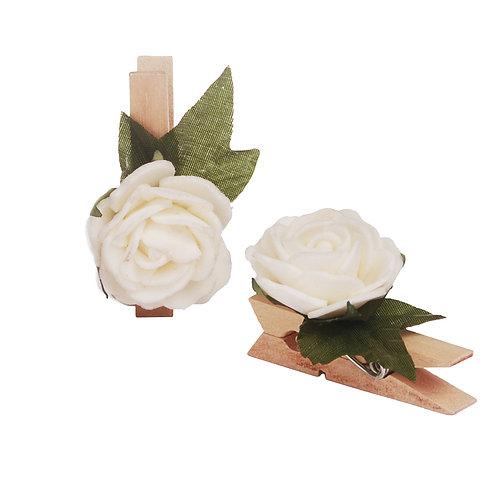Pregador Floral Rosa Branca