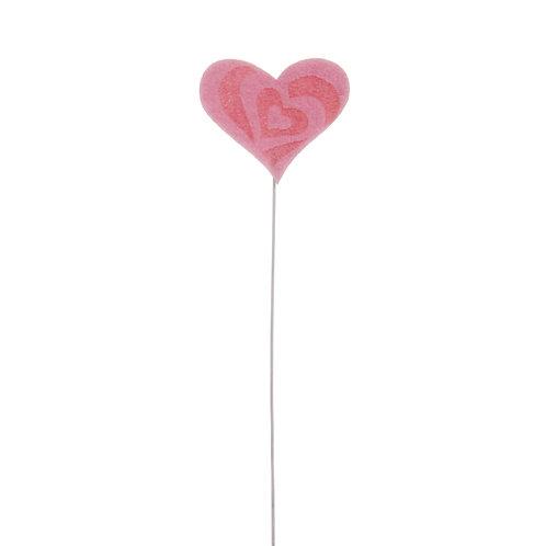 Pick Coração Felt Rosa