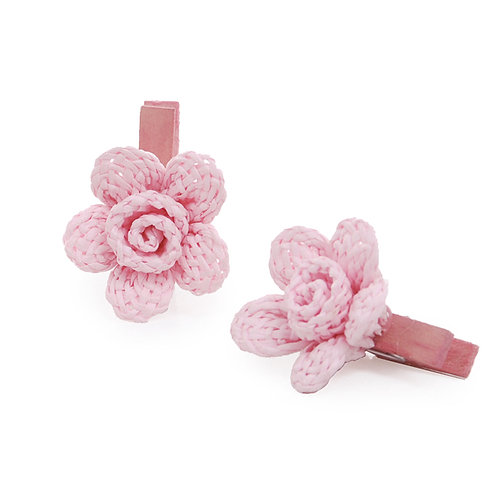 Pregador Floral Natural Crochê Rosa