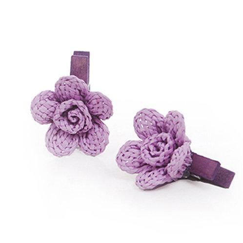 Pregador Floral Natural Crochê Lilás