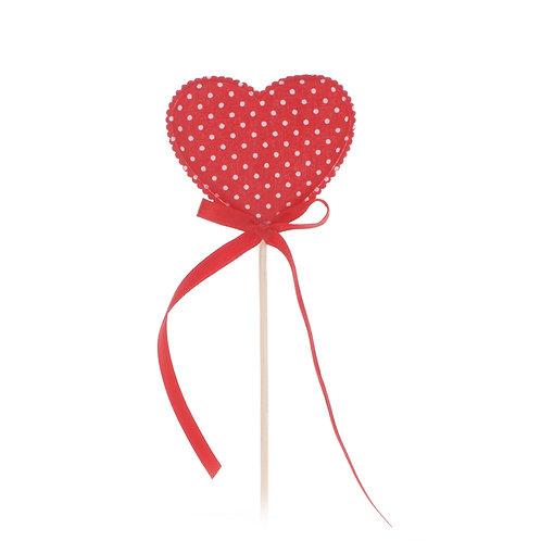 Pick Coração Decorado Tecido Vermelho com Poá Branco