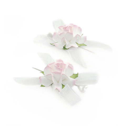 Alfinete Rosas Branco c/ Rosa