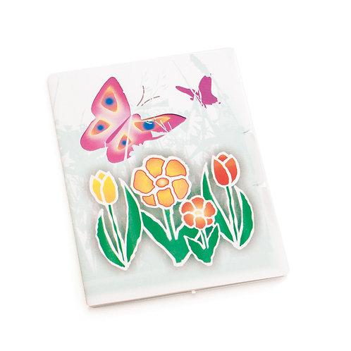 Cartão Vertical Borboleta/Tulipa