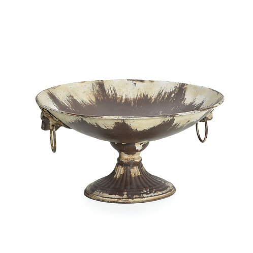 Taça de Ferro Envelhecido com Alça Decorada