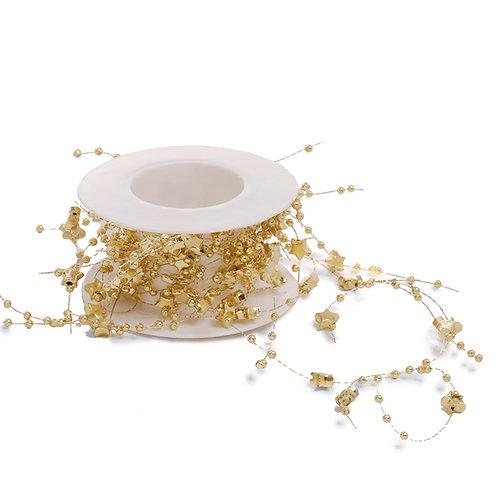Cordão Fio Decorativo Estrelas Ouro