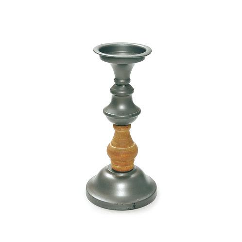 Castiçal Metal/Madeira Torneado P