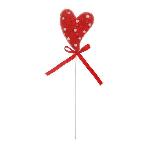 Pick Coração Decorado Poá Branco com Vermelho