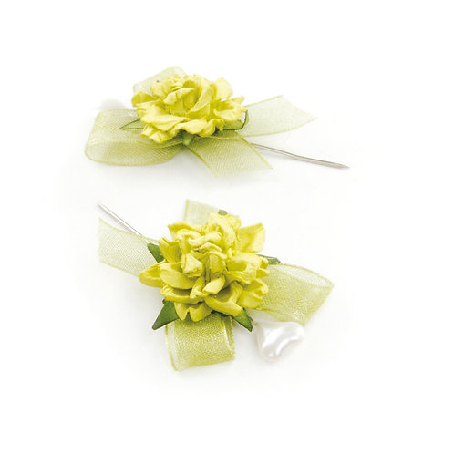 Alfinete Rosas Pequenas Verde Claro