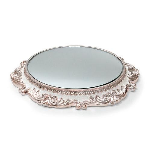 Suporte Rendado Prateado com Espelho
