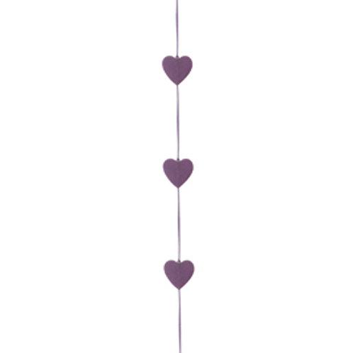 Cordão Corações Felt Lilás