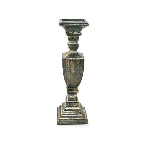 Castiçal Madeira Luxo Ouro Envelhecido M