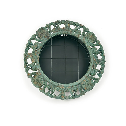 Moldura Redonda  Decorada Verde MDF/Metal