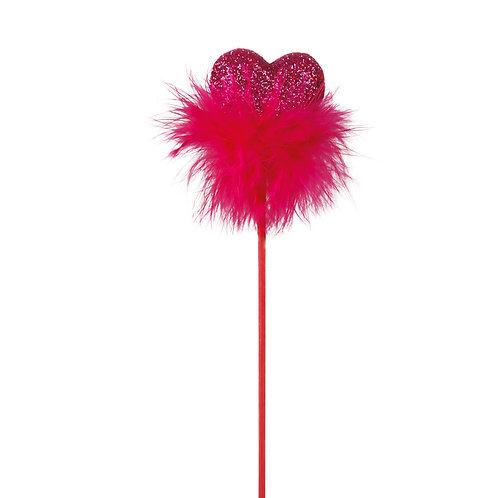 Pick Coração Pink com Pluma