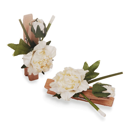 Pregador Floral Rosa Dobrada Branca