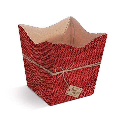 Cachepot Textura Juta Vermelho Laço