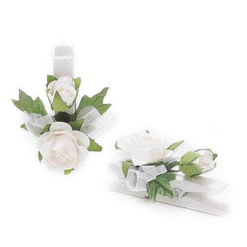 Pregador Floral Rosa Botão Branco