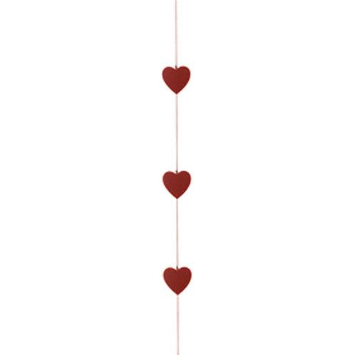Cordão Corações Felt Vermelho