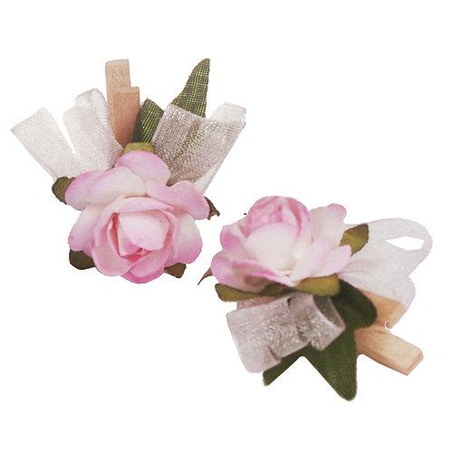 Pregador Floral Mini Rosa Rosa Bebê