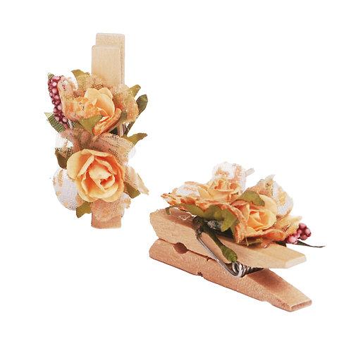 Pregador Floral Mini Rosa Amarelo Claro