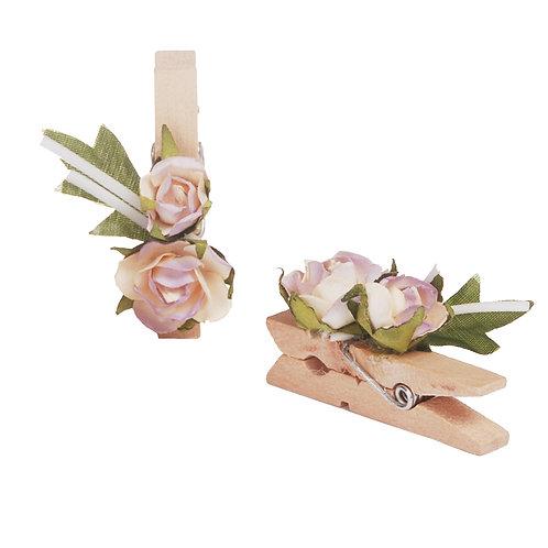 Pregador Floral Rosa Bege/ Lilás