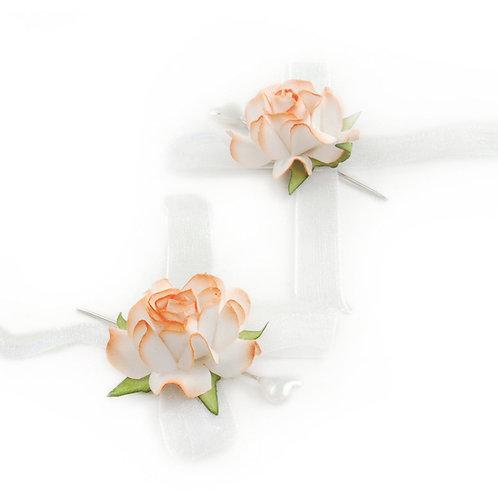 Alfinete Rosas Branco c/ Laranja