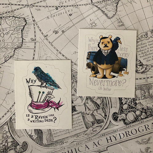 Sticker Set: Edgar Allan Pooh and Why is a raven like a writing desk