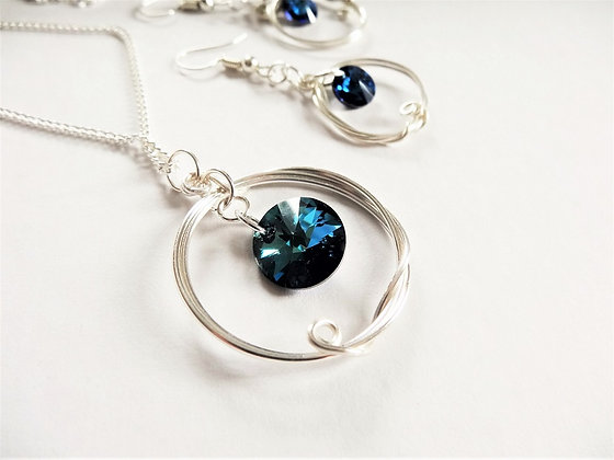 Blue Swarowski Earrings and Pendant Set