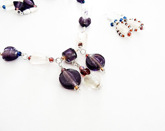 Glass Beads Set - Necklace and Earrings