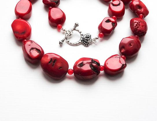 Red Natural Coral Bracelet / Necklace