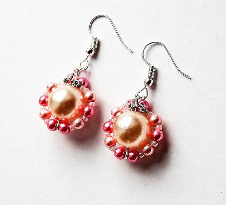 Pink Pearls Earrings