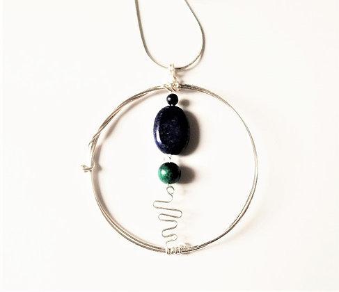 Lapis Lazuli and Chrysocolla Pendant