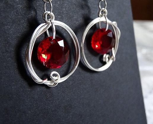Blue / Orange / Red Swarovski Crystals Earrings
