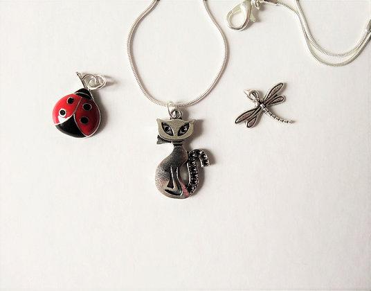 Cat, Dragonfly, Ladybug Necklace