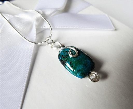 Chrysocolla Earrings and Pendant Set