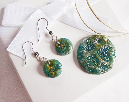 Green & Red Polymer Clay Earrings and Pendant