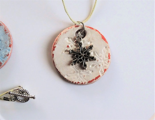 Winter Star Handmade Ceramic Pendant