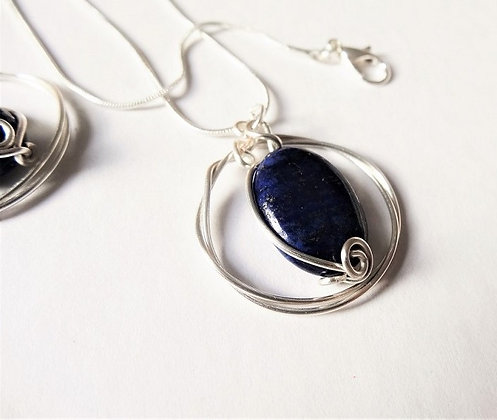 Lapis Lazuli Earrings and Pendant set