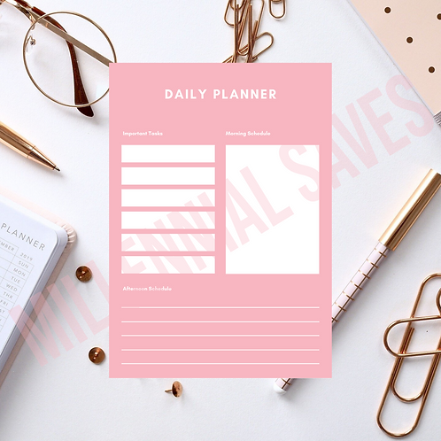 Daily Productivity Planner in Pink and White
