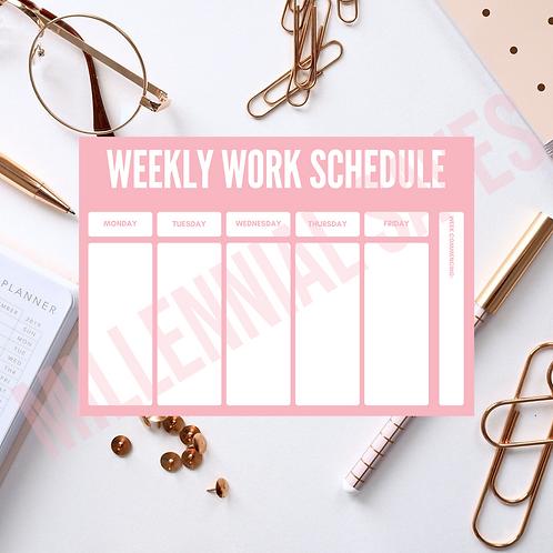 Weekly Work Schedule Desk Planner in Pink