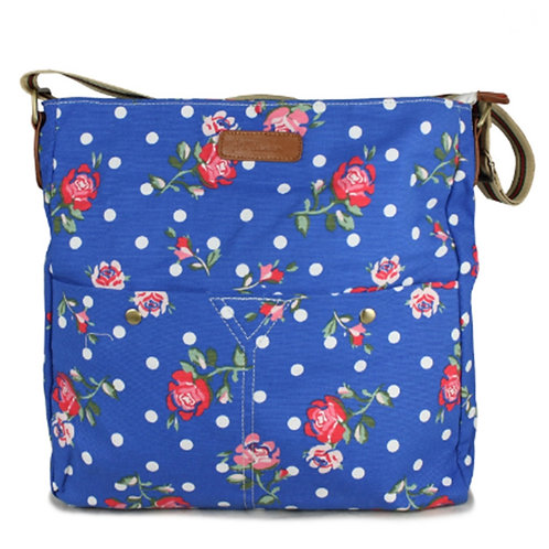Royal Blue Polka Dots and Flowers Messenger bag