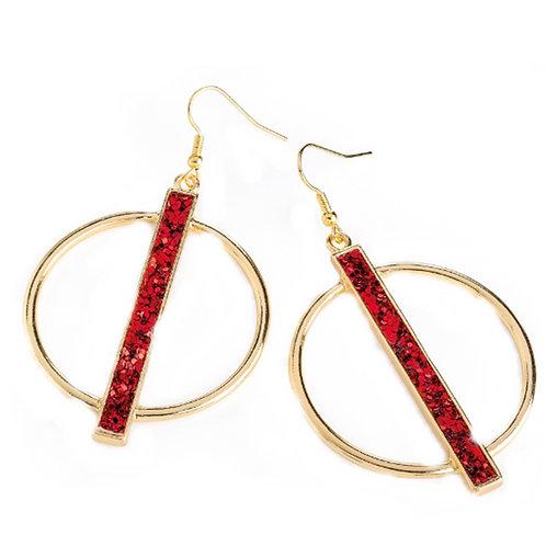 Womens Gold Hoop Earrings Red Glitter Strip