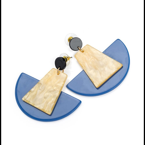 Womens Blue Brown Tone Geometric dangly Earrings