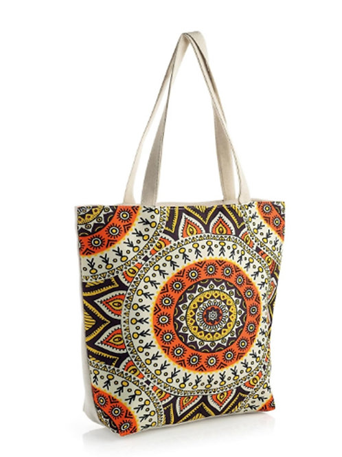 Large Beige Orange People Figures Tote Shopper beach bag