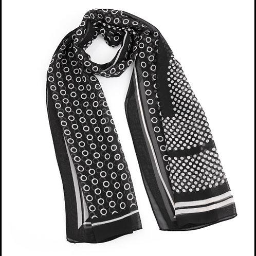 Black White Spotty Striped Fashion Scarf
