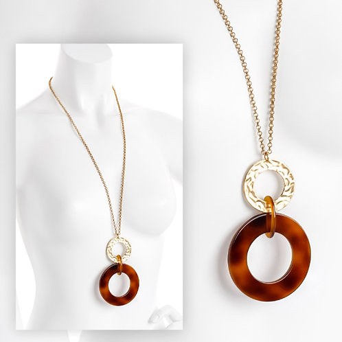 Long Gold Brown Hoop Tortoise Shell Effect Pendant