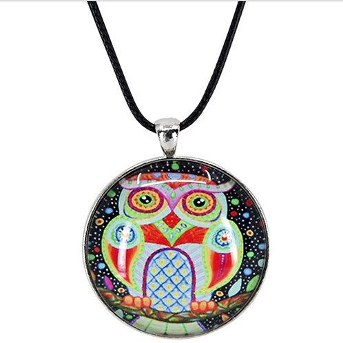 Unisex Black Glass Owl Cord Pendant