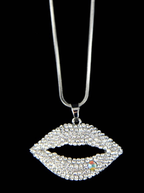Silver Blingy Lips Pendant Necklace