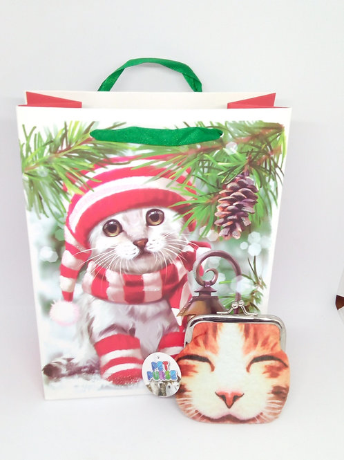 Christmas Cat Gift Bag & Coin Purse